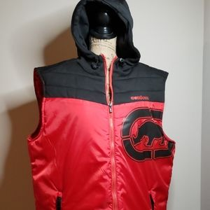 Ecko Unltd black and red hoodie vest